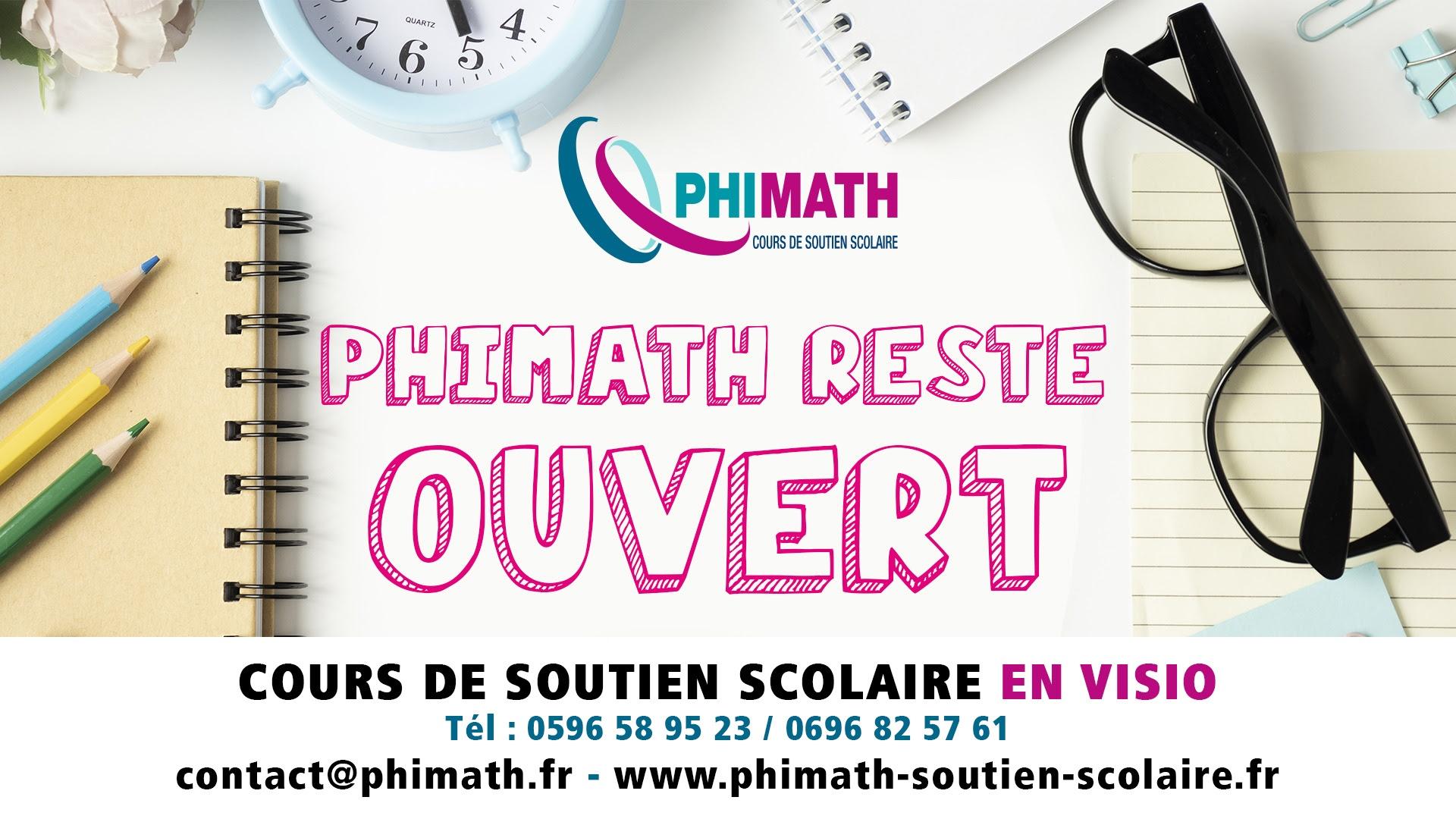 Soutien scolaire en Martinique en visio PHIMATH reste ouvert